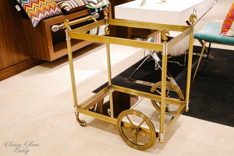 Jonathan Adler bar cart | Classy Glam Living