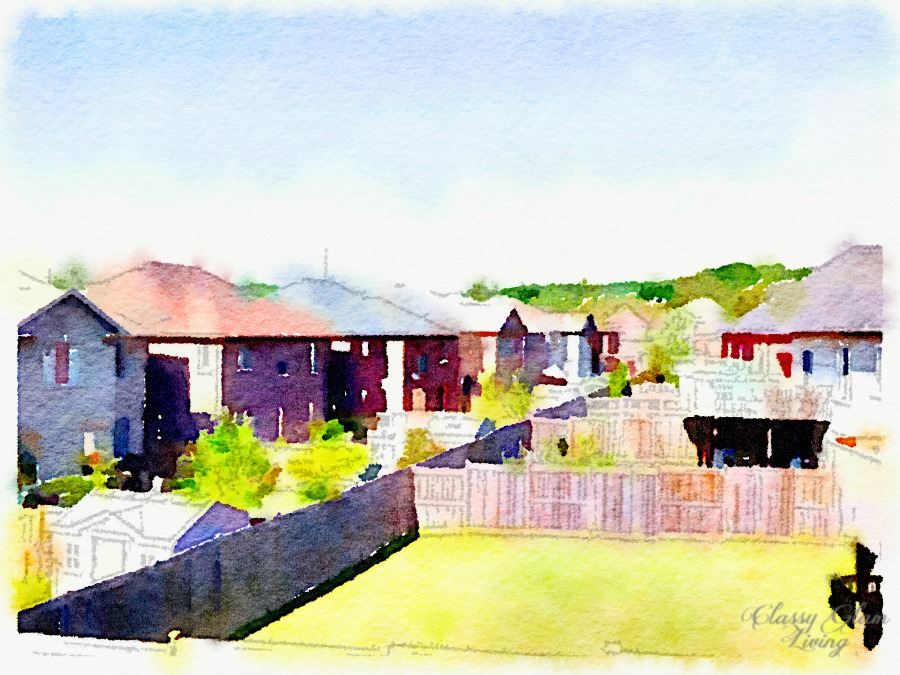 Will also miss this unobstructed view from our master bedroom into the backyard, the forest beyond, and the skyline. Even more so on a beautiful sunny day like when this photo was taken (turned watercolour using the waterlogue app).