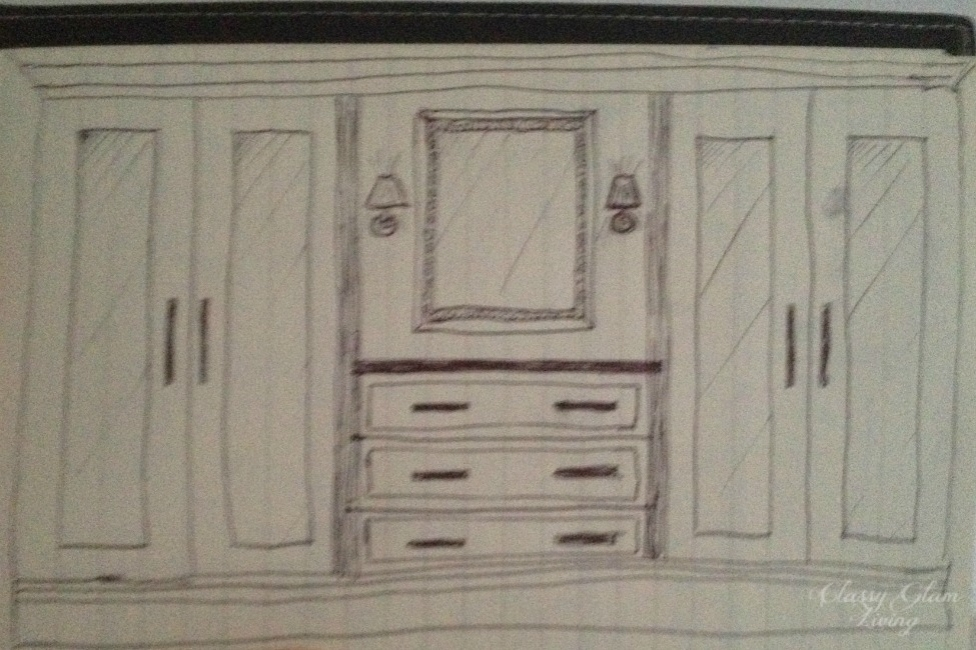 New House Dressing Room Long Wall Sketch | Classy Glam Living