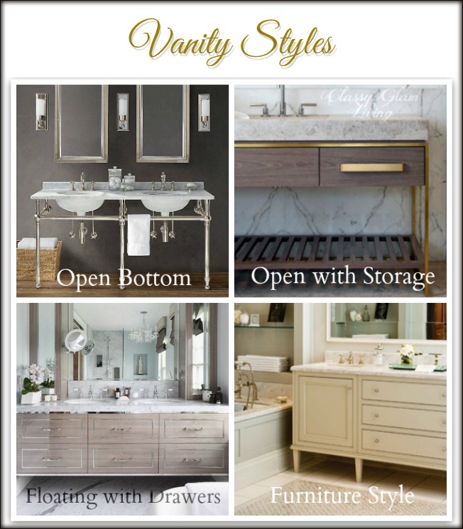 Vanity Styles | Classy Glam Living |  clockwise from top right:   Belle Vivir , Brian Gluckstein Design;  home adore ,  Restoration Hardware .