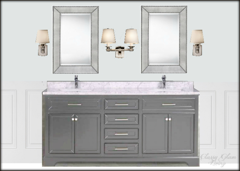 New House Master ensuite design board | vanity view | Classy Glam Living | Sources: Vanity  Muti ; mirror  Home Depot ; Single and Double Scounces  Restoration Hardware ; wall colour Benjamin Moore Marilyn's dress; crop of wainscoting  Lowes