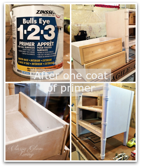 DIY Refinishing Vintage Bedside Tables | Primer Application | Classy Glam Living
