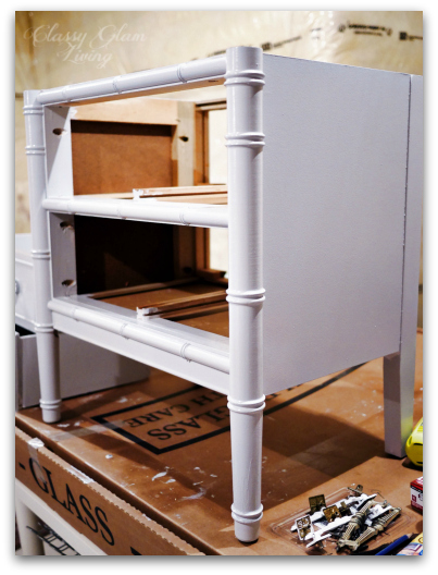 DIY Refinishing Vintage Bedside Tables | Behr's Silver Bullet in Glossy Finish | Painted in Glossy Grey | Classy Glam Living