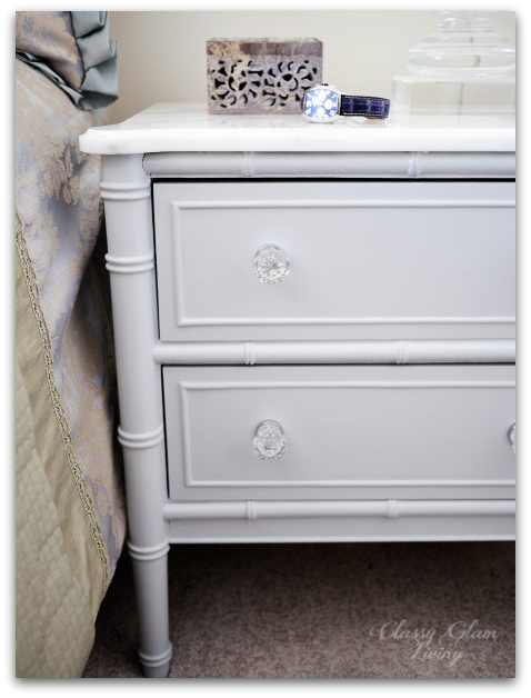 DIY Refinishing Vintage Bedside Tables Closeup with Statuario Marble Top | Classy Glam Living
