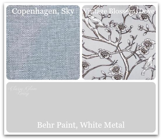 Copenhagen, Sky  and  Vintage Blossom, Dove : Tonic Living;  White Metal : Behr Paint