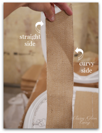 Straight and curvy side of webbing burlap | DIY reuphostering chairs | Classy Glam Living