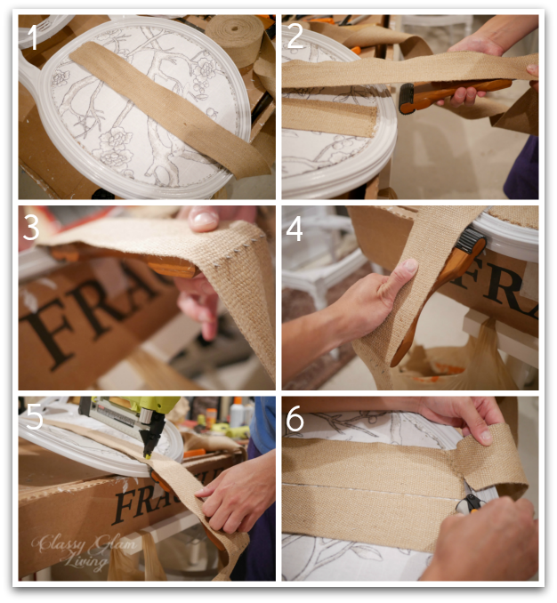 Using the webbing stretcher   DIY reupholster french chairs   Classy Glam Living