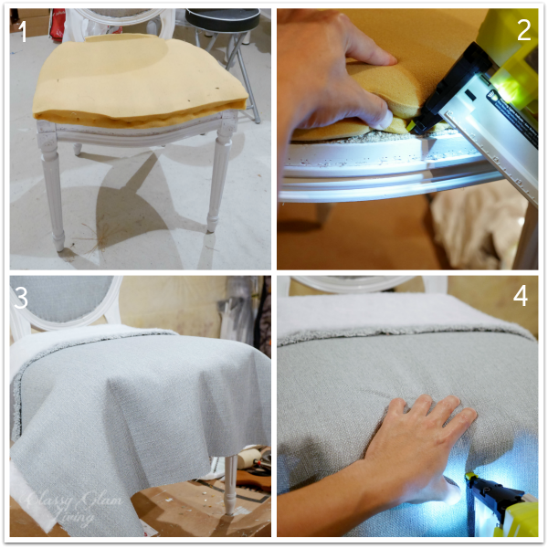 Attach fabric to seat | DIY Reupholstering chairs | Classy Glam Living
