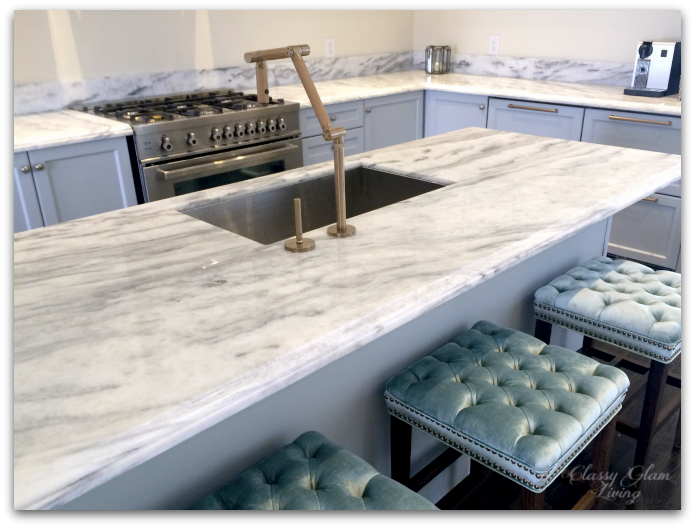 New Superwhite Quartzite kitchen counter | Classy Glam Living