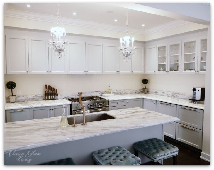 Kitchen in-progress update | Grey Cabinets | Minimalist kitchen with level upper cabinets | Classy Glam Living