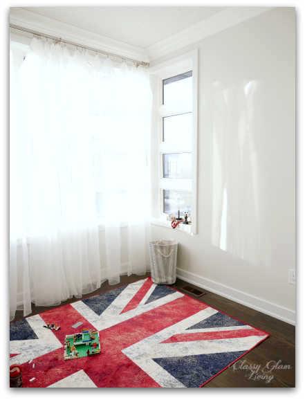 Playroom Benjamin Moore Gray Owl at 50% tint Union Jack rug | Classy Glam Living