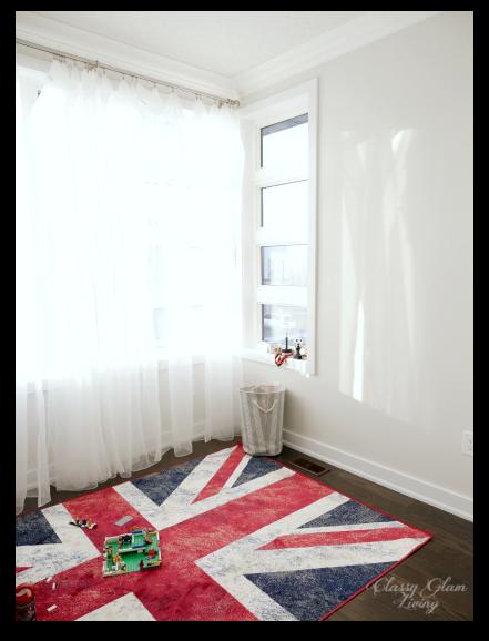 Playroom Benjamin Moore Gray Owl at 50% tint Union Jack rug | Classy Glam Living