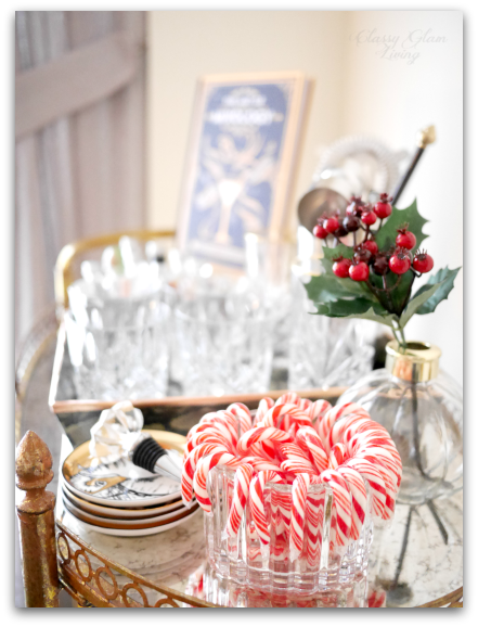 SEASONAL DECOR ON BAR CART | STYLING A HOLIDAY-READY BAR CART | CLASSY GLAM LIVING