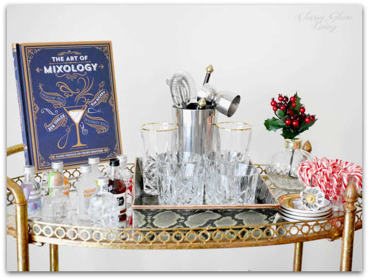 GLASSWARE & BARWARE ON TOP TIER | STYLING A HOLIDAY-READY BAR CART | CLASSY GLAM LIVING