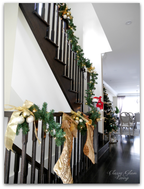 2015 Christmas Hallway | Classy glam Living | Stockings on Railing