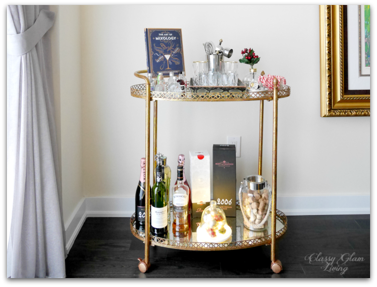 2015 Christmas Bar Cart Decor Styling | Classy Glam Living