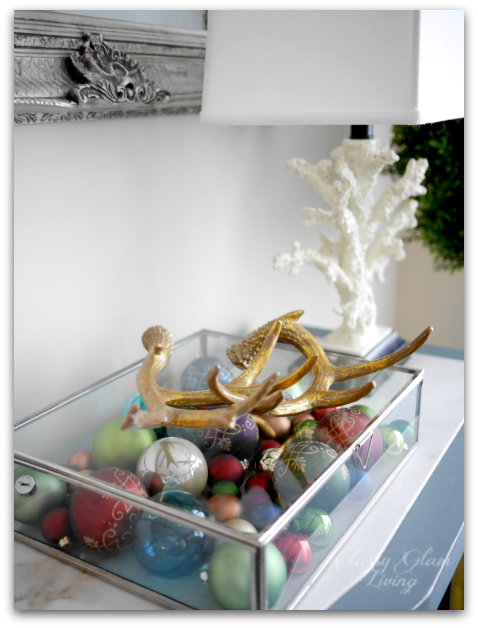 2015 Christmas Console Table Decor | Ornaments in glass display box gold antlers | Classy Glam Living