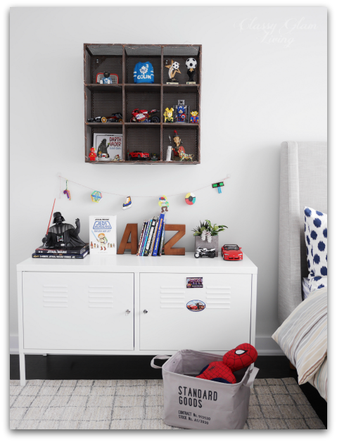 Neutral Big Boy Room Reveal | Boy's room | Kid's room | IKEA PS cabinet and CB2 metal wall shelf | Classy Glam Living