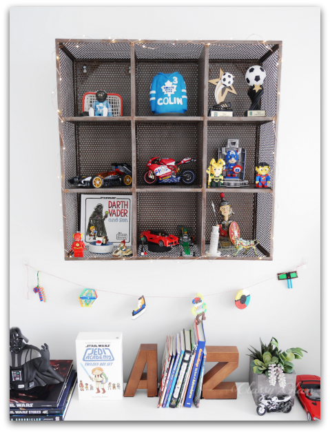 Neutral Big Boy Room Reveal | Boy's room | Kid's room | CB2 metal wall shelf with garland lights | Classy Glam Living