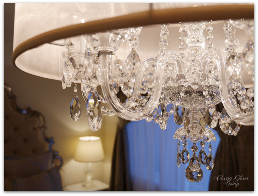 Master bedroom chandelier | Schonbek 2995 with silk shade | Classy Glam Living