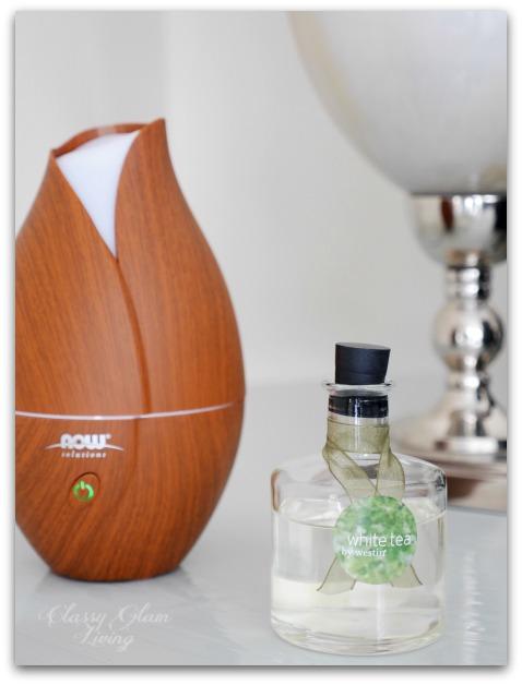 White tea oil diffuser ;  Wood grain oil diffuser (affiliated links)