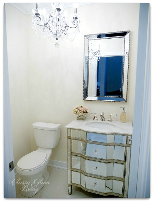 Powder room update | Mirrored vanity cabinet | Classy Glam Living