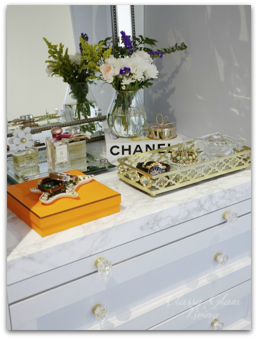 DIY Custom Dressing Room | Glass knobs on vanity drawers | Classy Glam Living
