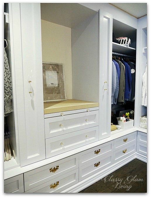 DIY Custom Dressing Room | Installed vanity drawer fronts | Classy Glam Living