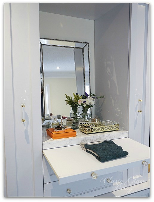 DIY Custom Dressing Room | Vanity with folding station top | Classy Glam Living