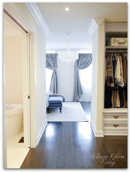DIY Custom Dressing Room | View from master suite entrance | Classy Glam Living