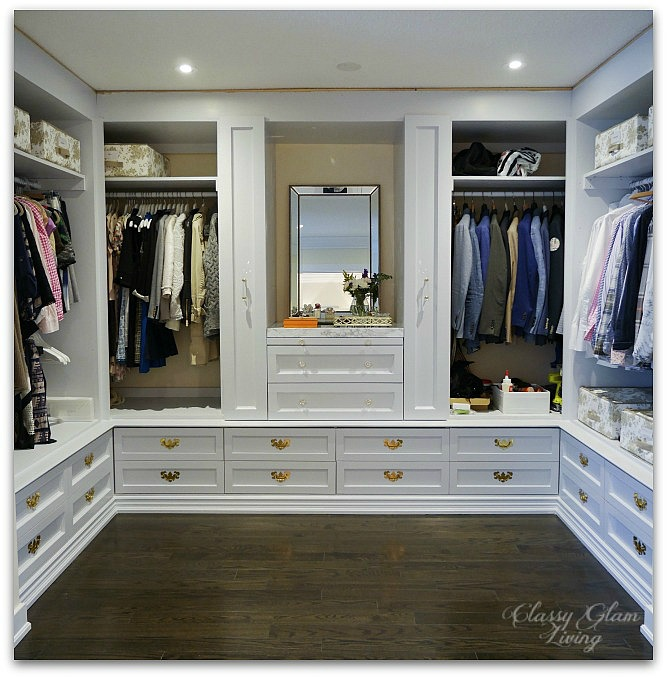 DIY Custom Walk-in Closet Dressing Room | Progress Shot bottom drawers pull out racks | Classy Glam Living
