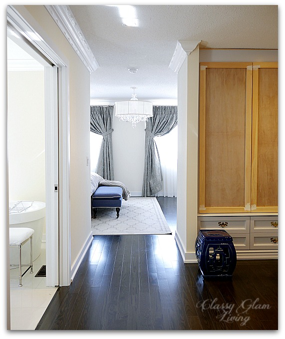 DIY Custom Dressing Room Walk-in Closet | Hallway view dry fit stage | Classy Glam Living
