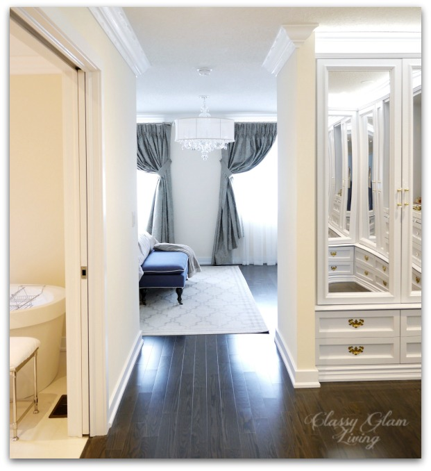 DIY Custom Dressing Room Walk-in Closet | Hallway view | Classy Glam Living