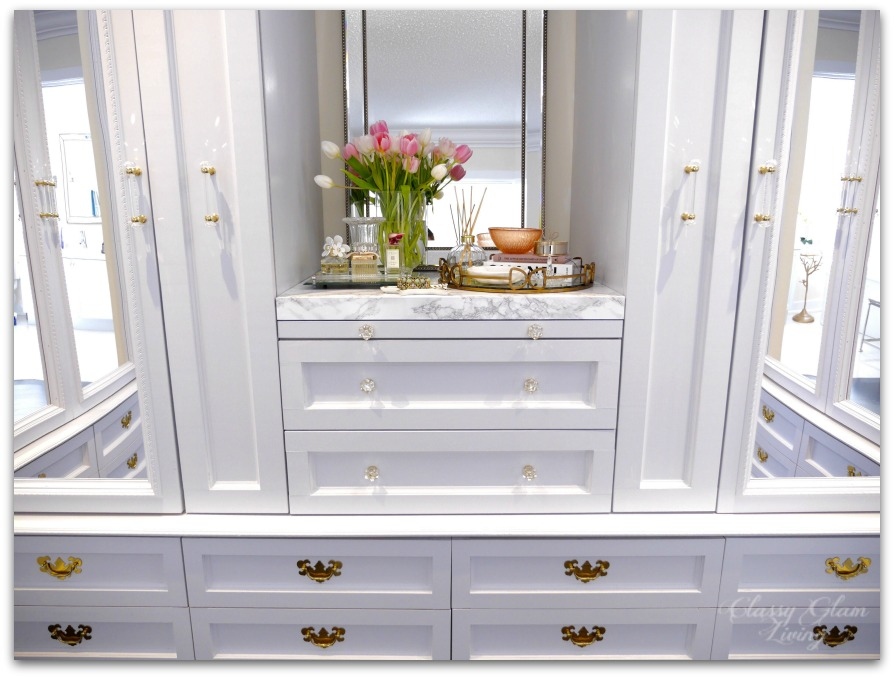 DIY Custom Dressing Room Walk-in Closet | Closet design, mirror closet doors, LED tape lights | Classy Glam Living