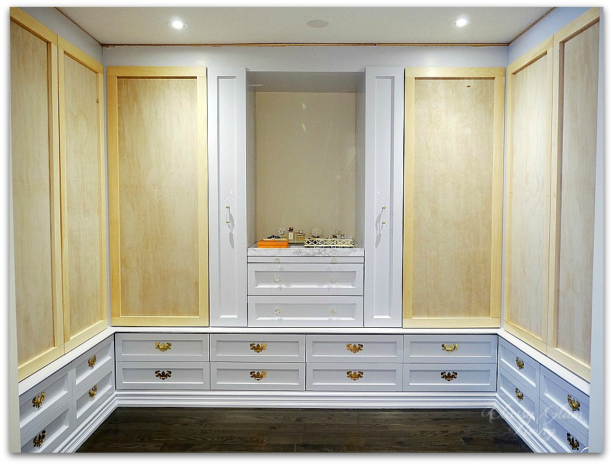DIY Custom Dressing Room Walk-in Closet | Progress shot of closet doors dry-fitted | Classy Glam Living