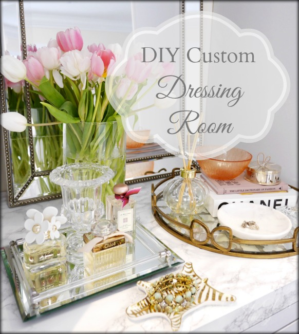 DIY Custom Dressing Room Walk-in Closet | Vanity marble counter top styling Hermes perfume jewelry tray | Classy Glam Living