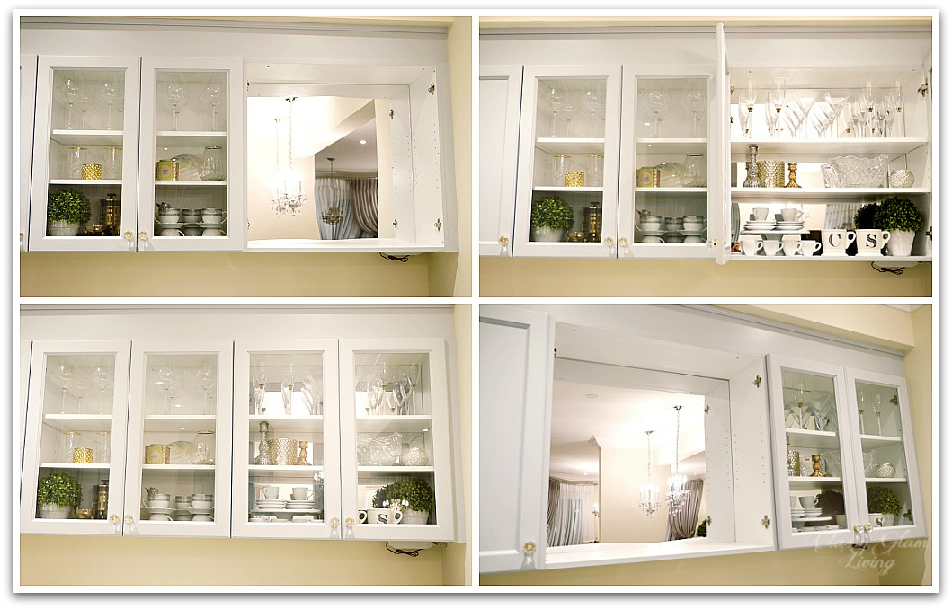 Mirrors - The Luxe Factor in a Kitchen | Acrylic mirror installation in kitchen cabinet | Kitchen Design | Classy Glam Living