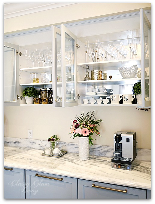 Mirrors - The Luxe Factor in a Kitchen | Acrylic mirror installed onto the back of glass cabinets | Kitchen Design | Classy Glam Living 3