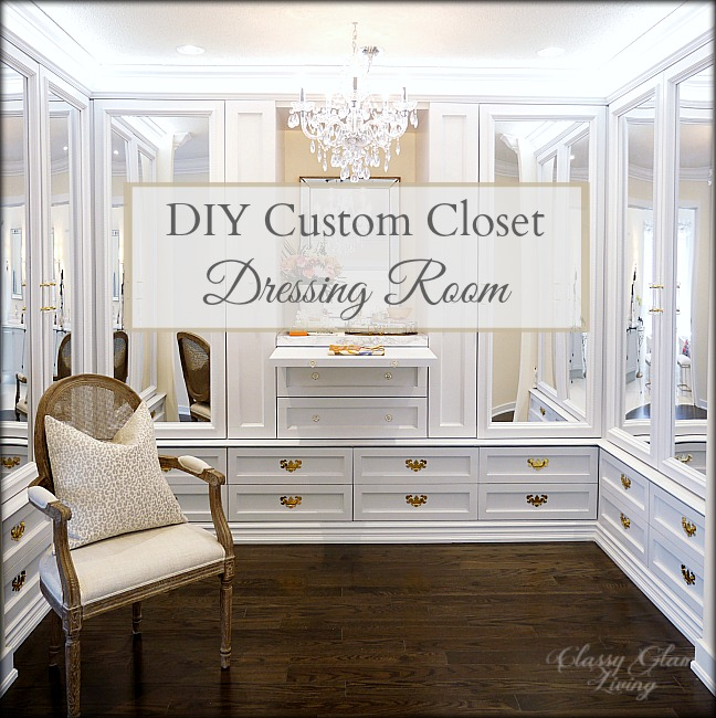 DIY Custom Closet Dressing Room | Crystal chandelier, acrylic mirror doors | Classy Glam Living
