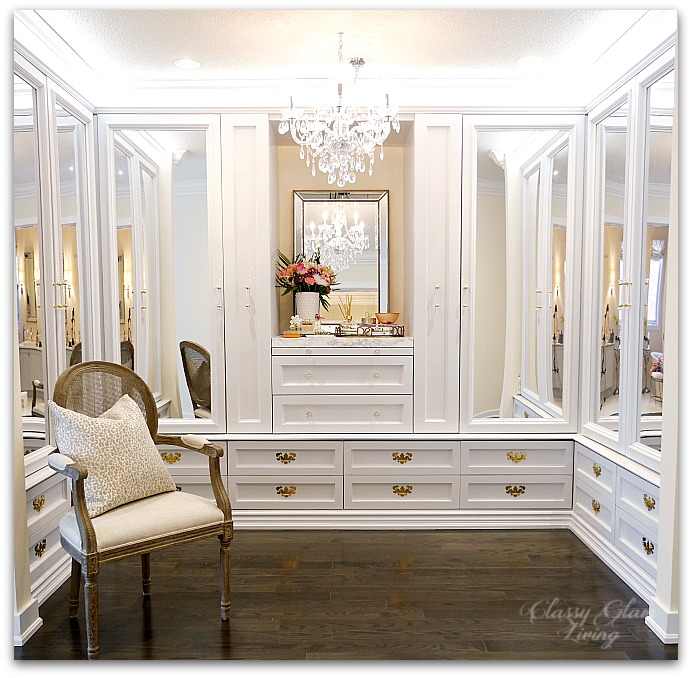 DIY Custom Closet Dressing Room | Crystal chandelier, acrylic mirrors, glam DIY closet, glam DIY walk-in closet | Classy Glam Living 2