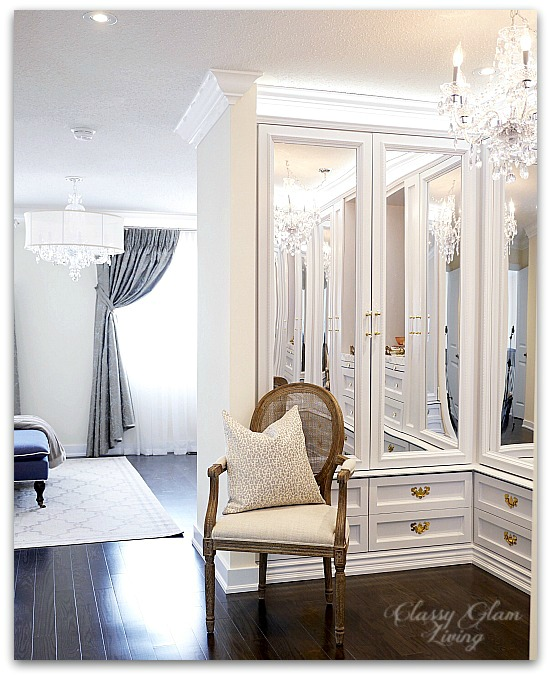DIY Custom Closet Dressing Room | Crystal chandelier, acrylic mirrors, glam DIY closet, glam DIY walk-in closet | Classy Glam Living 1