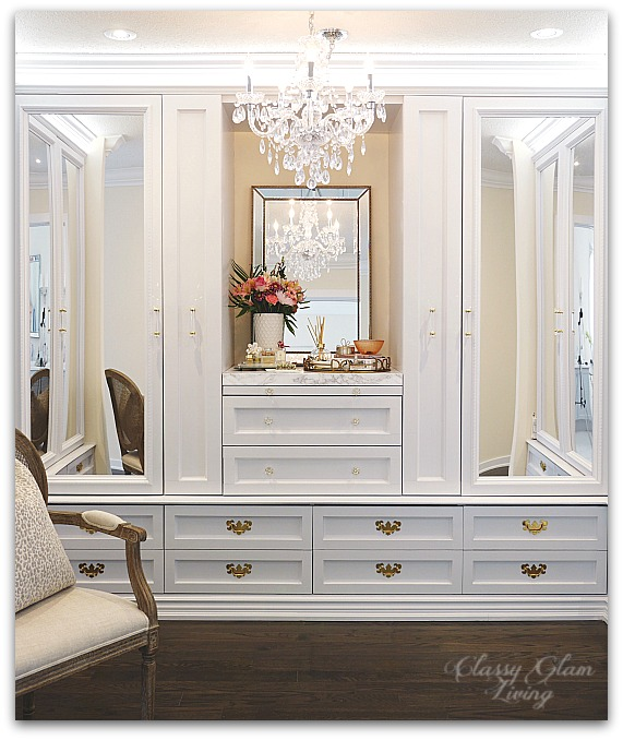 DIY Custom Closet Dressing Room | Crystal chandelier, acrylic mirrors, glam DIY closet, glam DIY walk-in closet | Classy Glam Living 3