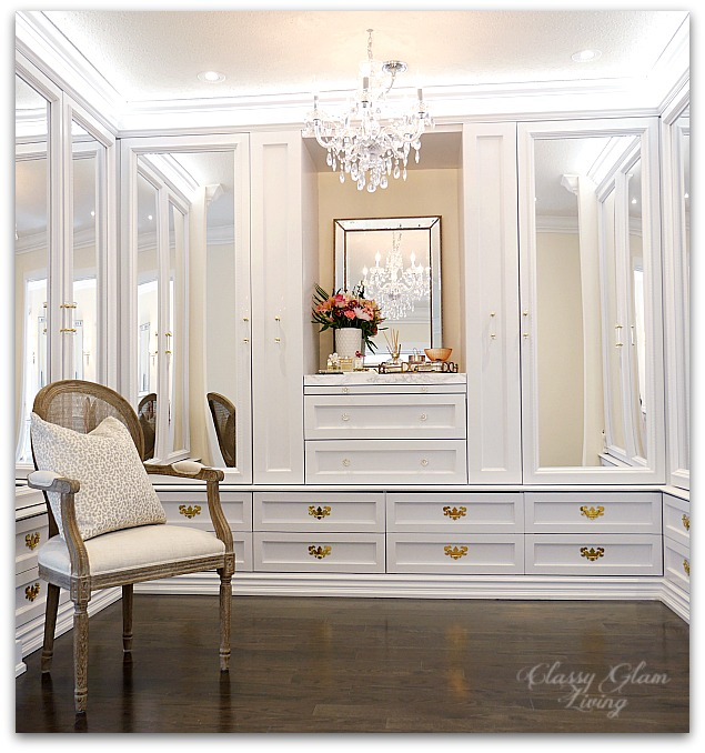 DIY Custom Closet Dressing Room | Crystal chandelier, acrylic mirrors, glam DIY closet, glam DIY walk-in closet | Classy Glam Living 5