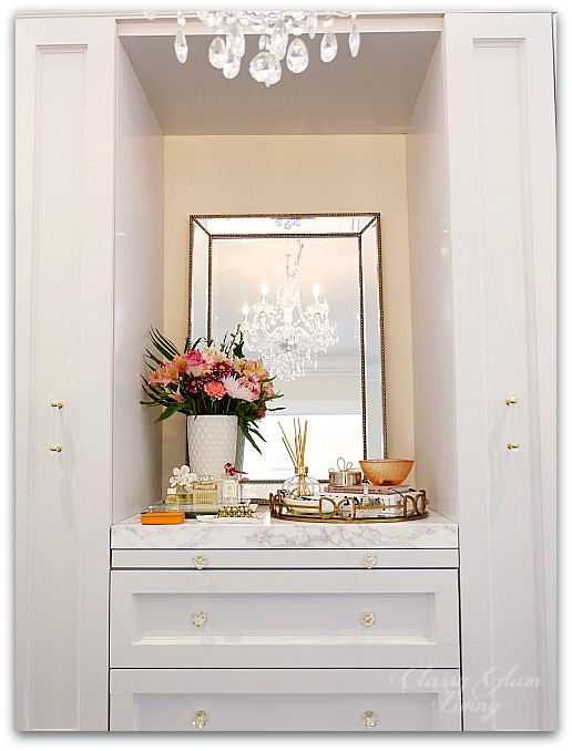 DIY Custom Closet Dressing Room | Crystal chandelier, acrylic mirrors, glam DIY closet, glam DIY walk-in closet | Classy Glam Living 8
