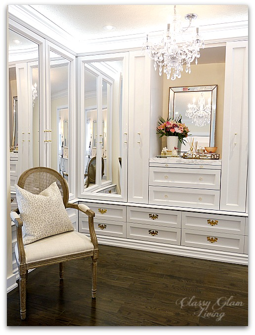 DIY Custom Closet Dressing Room | Crystal chandelier, acrylic mirrors, glam DIY closet, glam DIY walk-in closet | Classy Glam Living 9