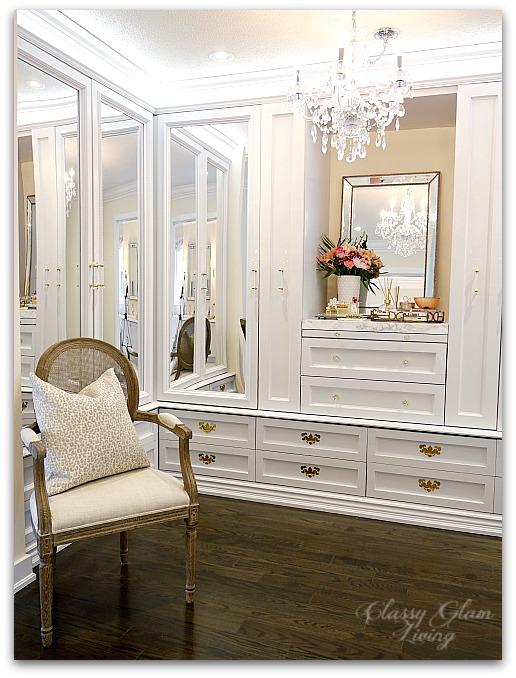 DIY Custom Closet Dressing Room | Crystal chandelier, acrylic mirrors, glam DIY closet, glam DIY walk-in closet | Classy Glam Living 9