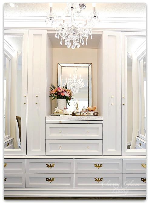 DIY Custom Closet Dressing Room | Crystal chandelier, acrylic mirrors, glam DIY closet, glam DIY walk-in closet | Classy Glam Living 6