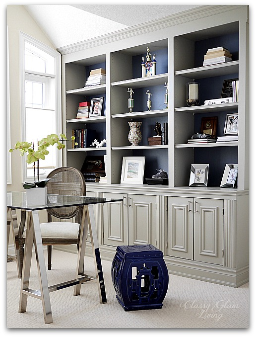 Navy blue backing in DIY built-in unit | Classy Glam Living