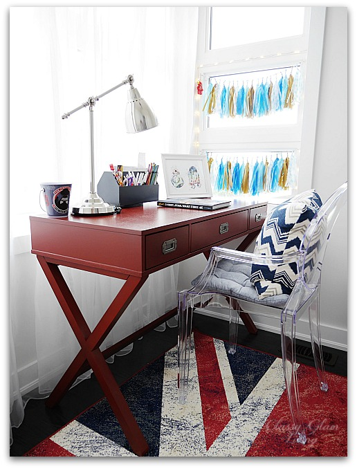 Navy blue in playroom | union jack rug | Classy Glam Living