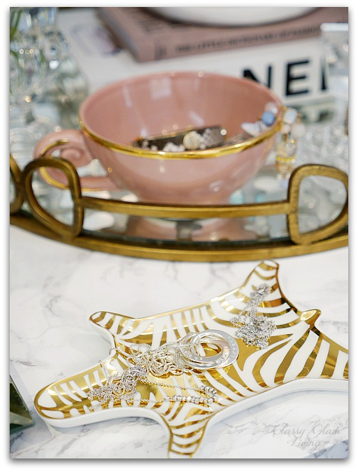 Adding Glam to Your Boudoir - a Blog Hop | vanity decor, vanity trays, tray styling, jewelry display on vanity tray table Jonathan Adler dish, glam vanity | Classy Glam Living